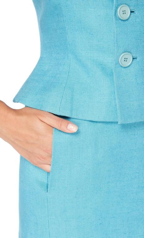 Norman Norell blue skirt suit, circa 1965 In Excellent Condition For Sale In London, GB