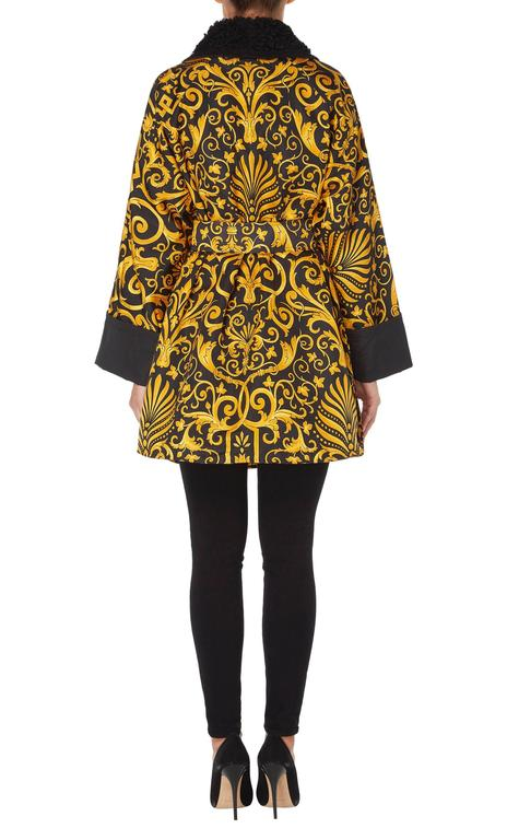 Black Versace Gold & black printed coat, Autumn/Winter 1991 For Sale
