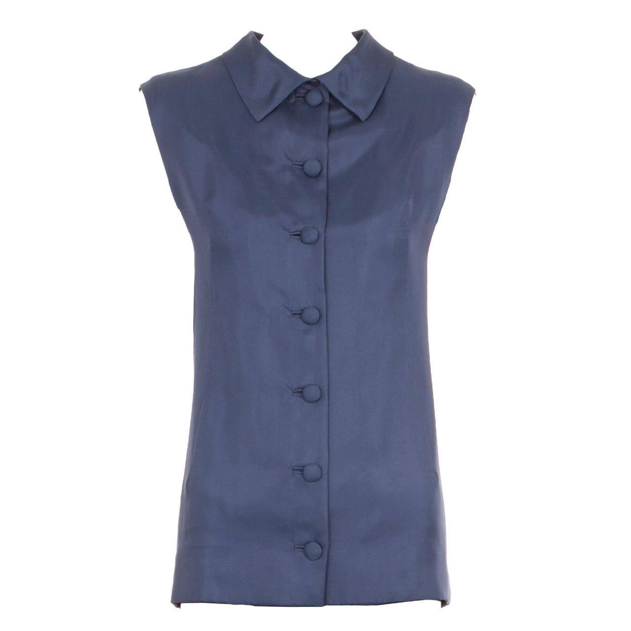 Balenciaga haute couture navy silk shirt spring summer for Haute couture shirts