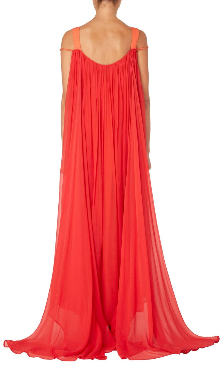 Red Yves Saint Laurent Haute couture orange & red dress, circa 1975 For Sale