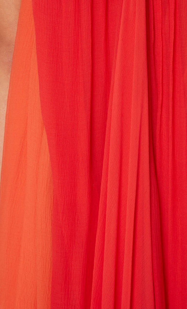 Yves Saint Laurent Haute couture orange & red dress, circa 1975 In Excellent Condition For Sale In London, GB