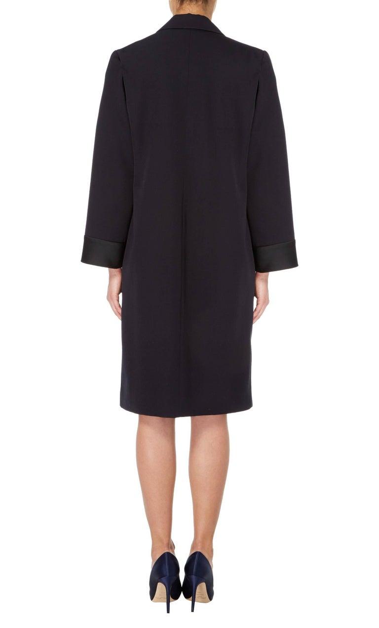 Black Yves Saint Laurent Navy coat, circa 1981 For Sale