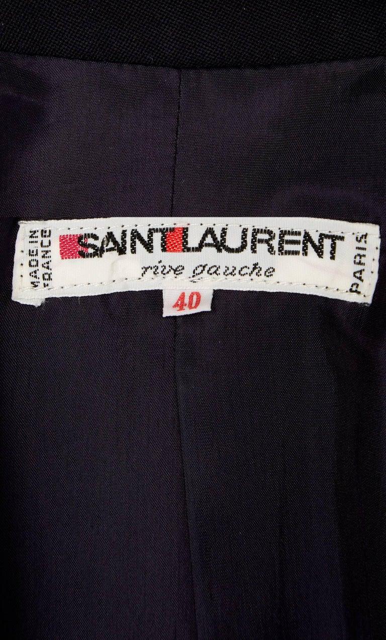 Women's Yves Saint Laurent Navy coat, circa 1981 For Sale