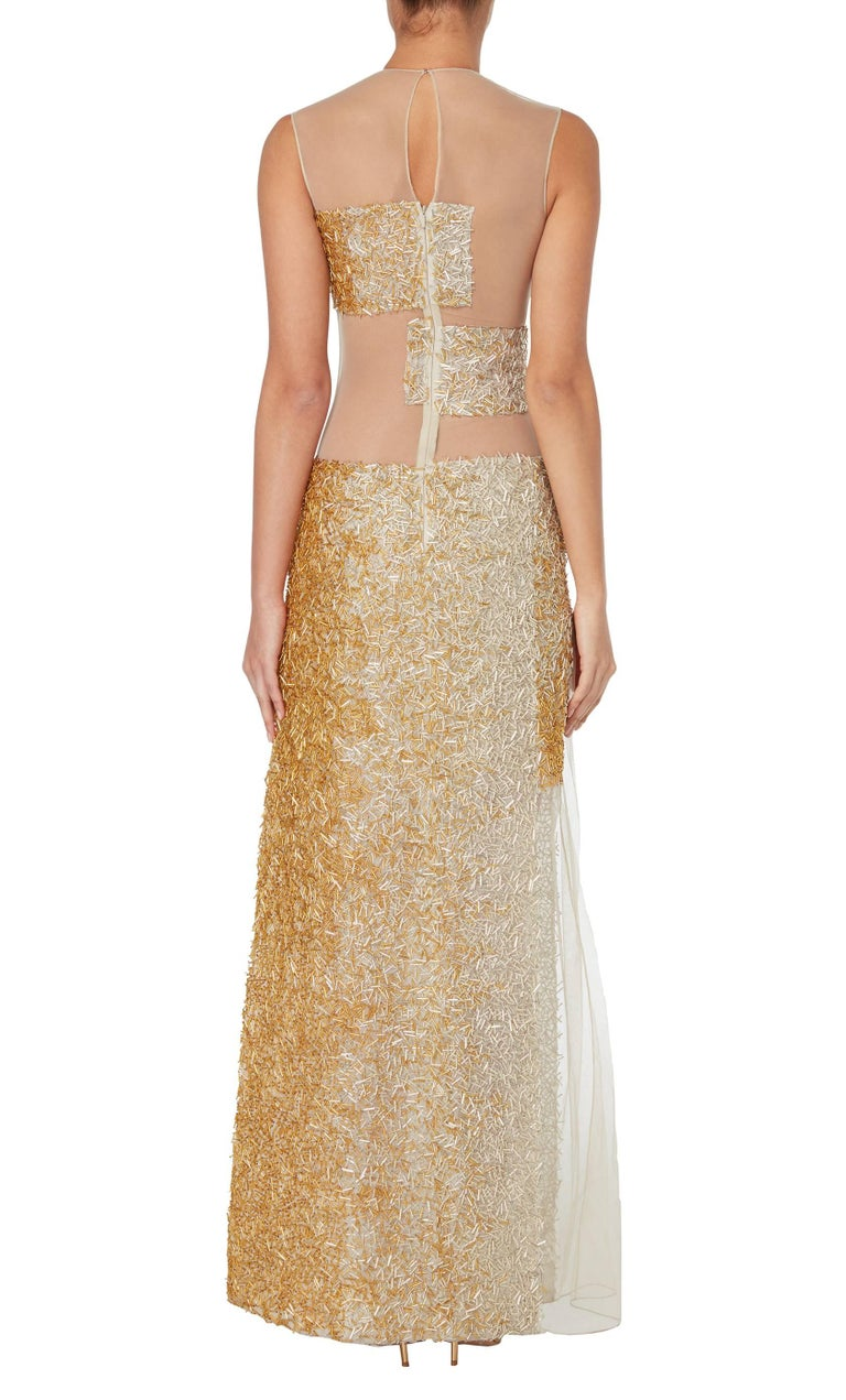 Gold Nicholas Oakwell, haute couture gold gown, Spring/Summer 2012 For Sale