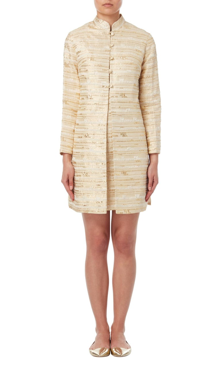 Lord And Taylor Gold Ivory Dress And Jacket Circa 1972