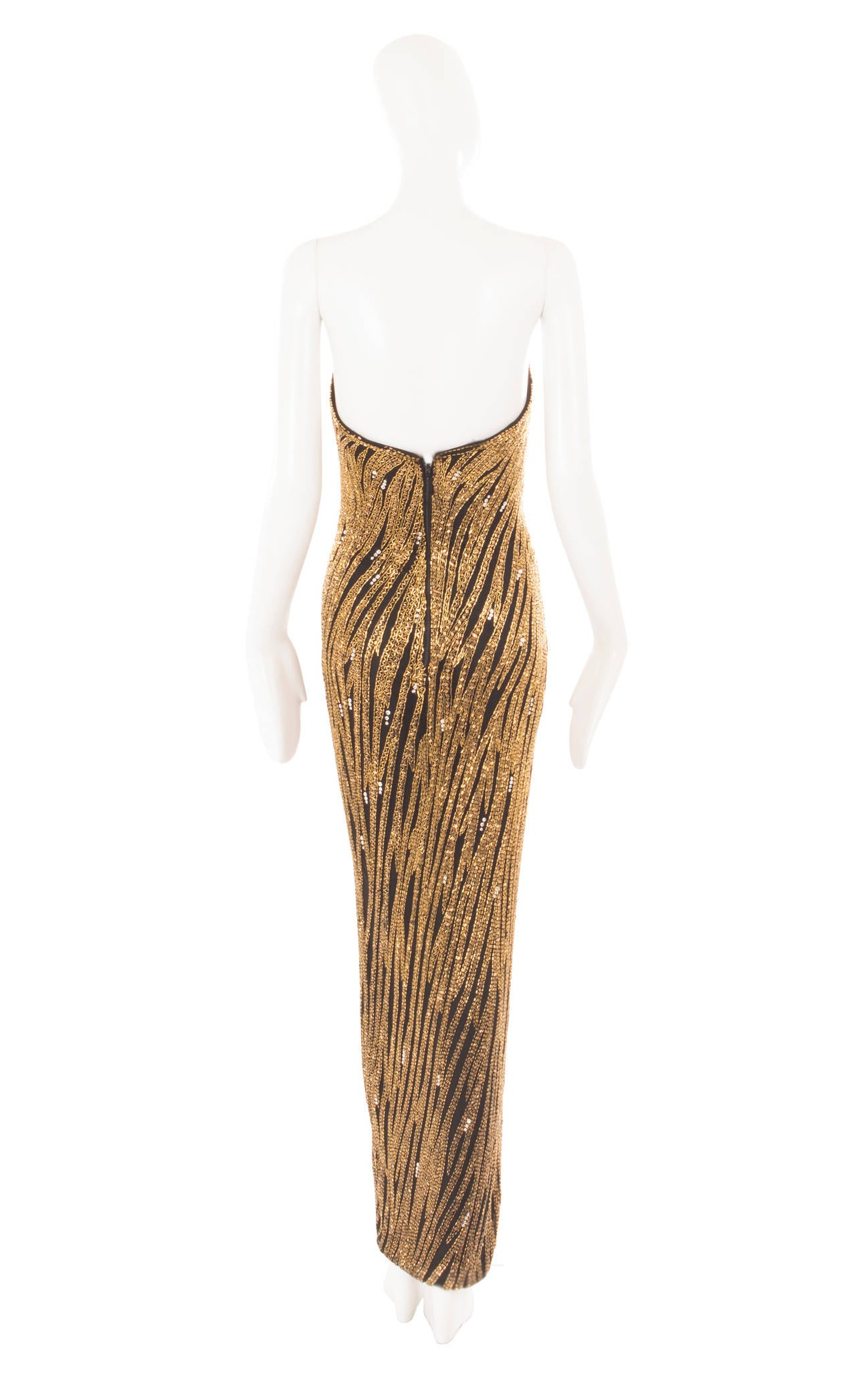 Bob Mackie gold beaded dress, circa 1980 In Excellent Condition For Sale In London, GB