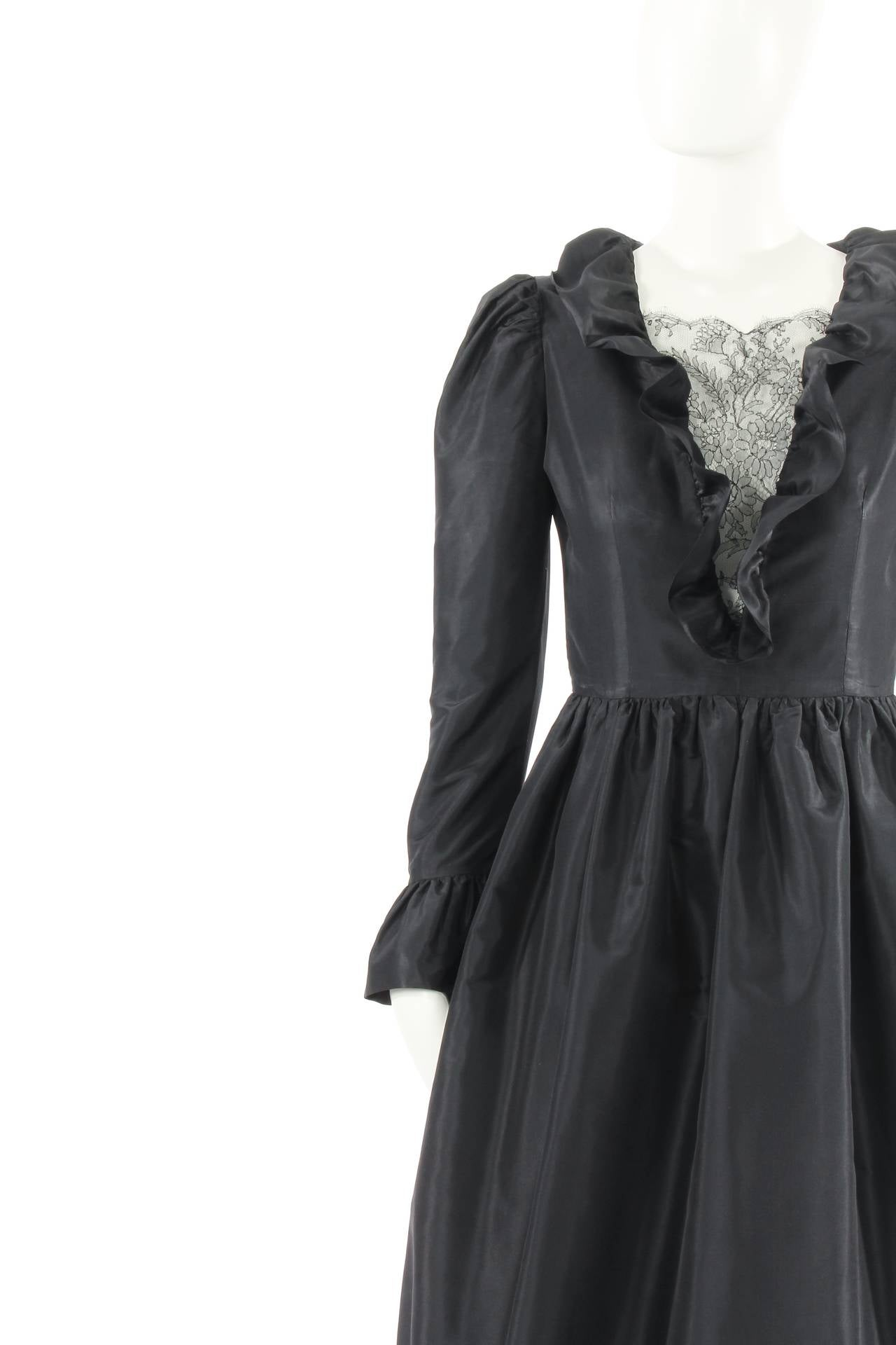 Lanvin haute couture black silk dress circa 1984 for sale for Haute couture sale