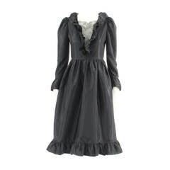 Lanvin haute couture black silk dress, circa 1984