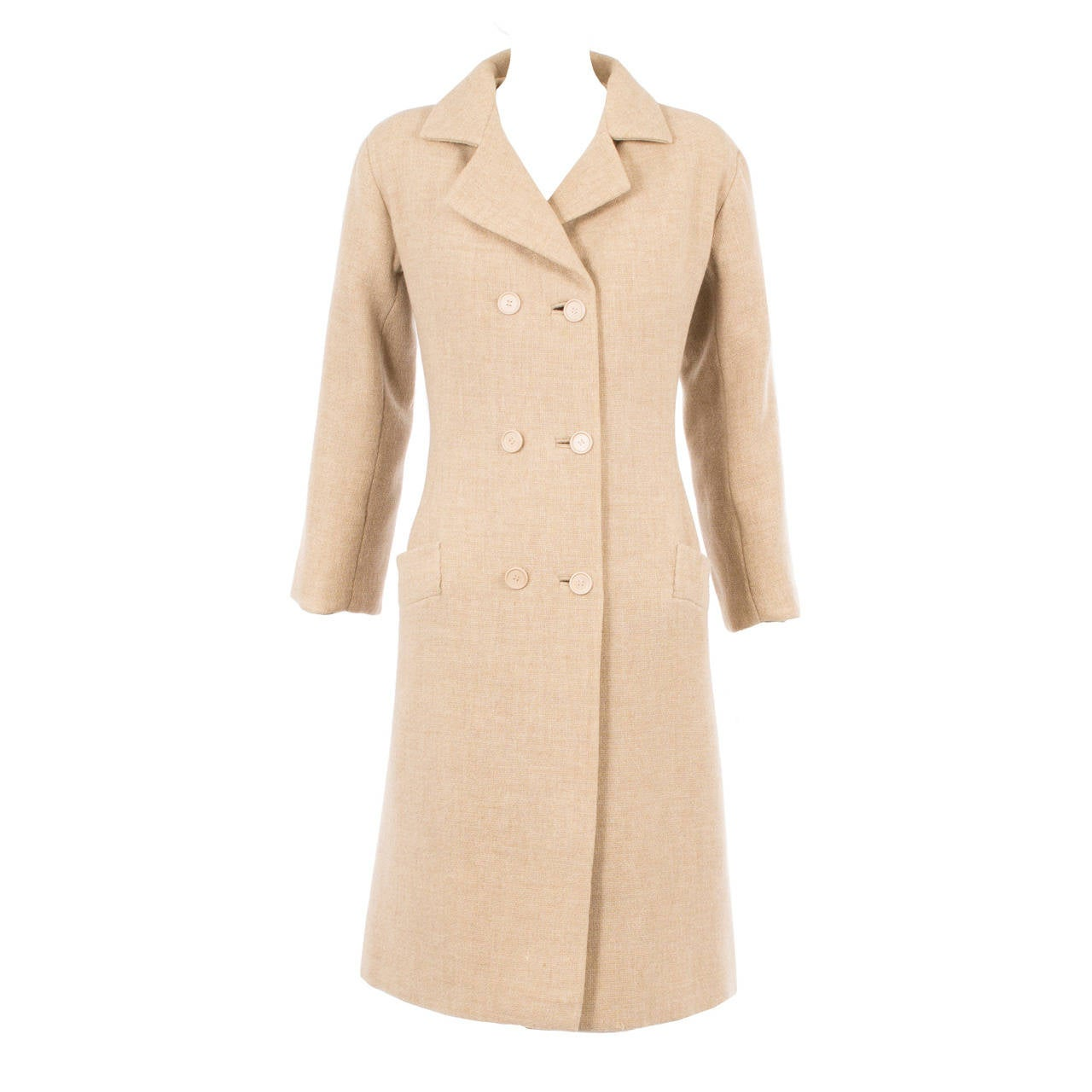 Balenciaga haute couture oatmeal wool coat, circa 1968 For Sale