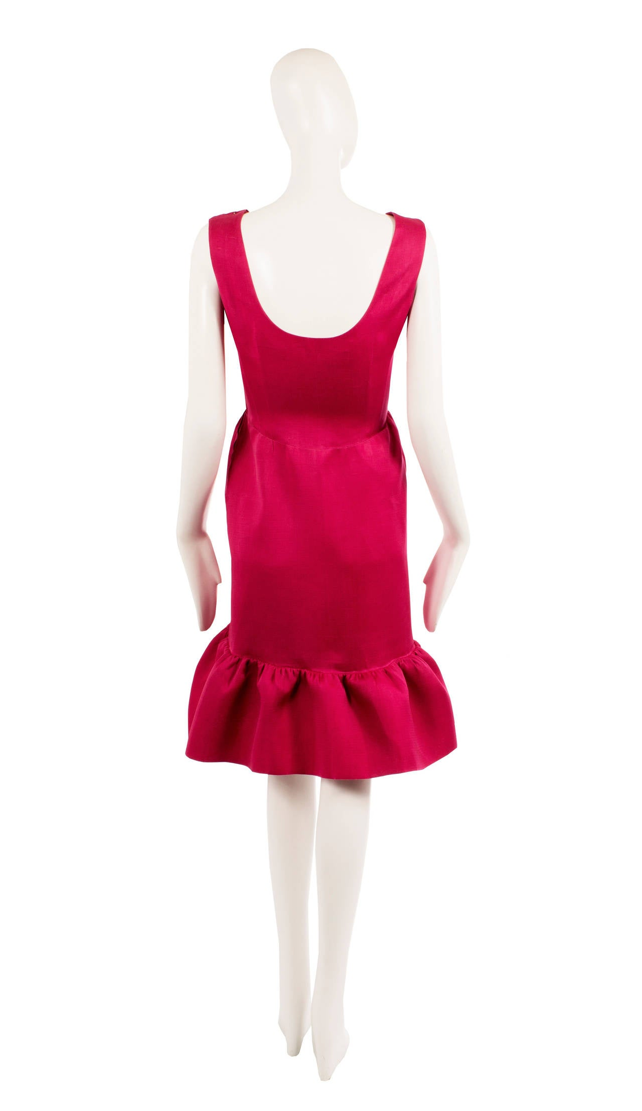 Balenciaga haute couture magenta silk dress, circa 1965 3
