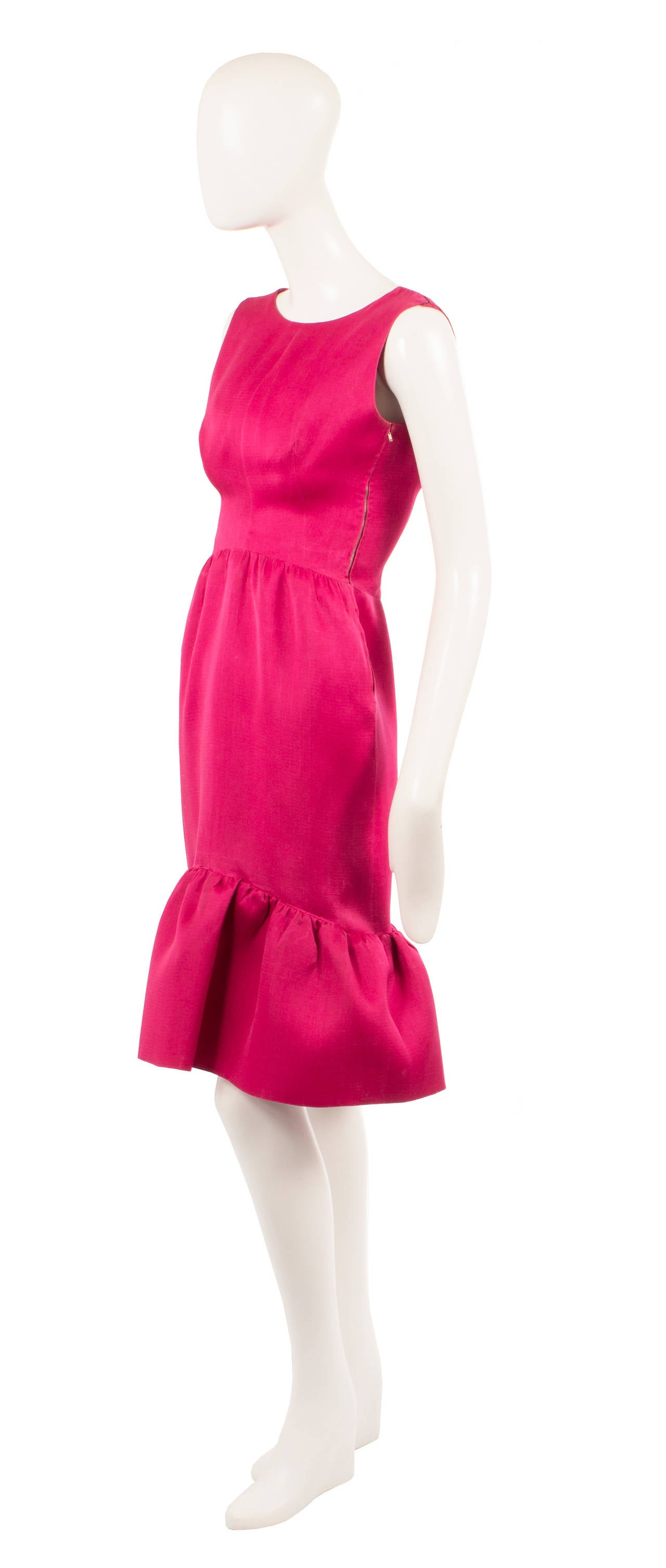 Balenciaga haute couture magenta silk dress, circa 1965 2