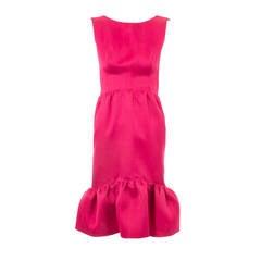 Balenciaga haute couture magenta silk dress, circa 1965