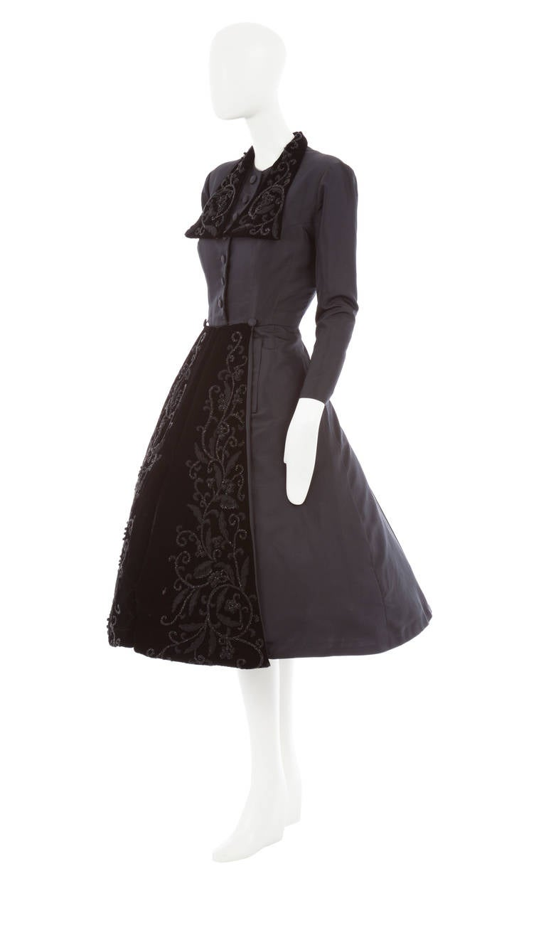 Dior Haute Couture Black Silk Taffeta Dress Coat, Autumn Winter 1948 2