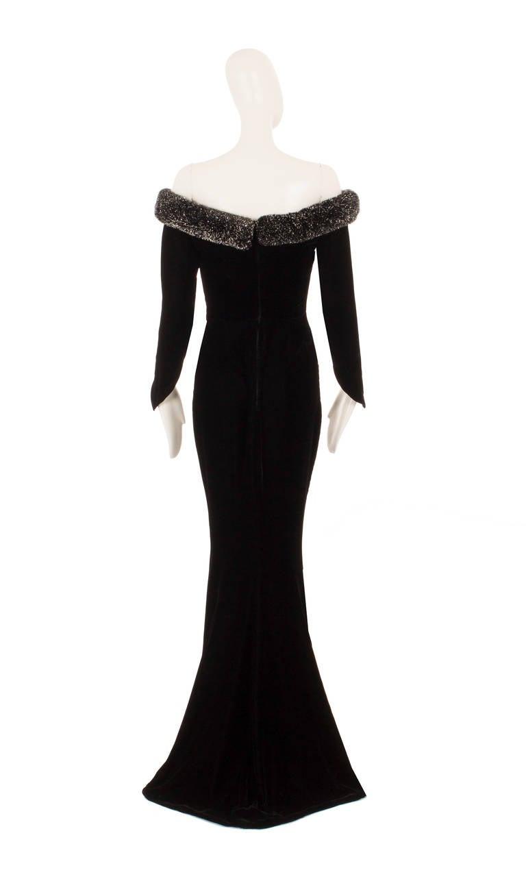 Thierry Mugler Black Velvet Dress, Circa 1987 3