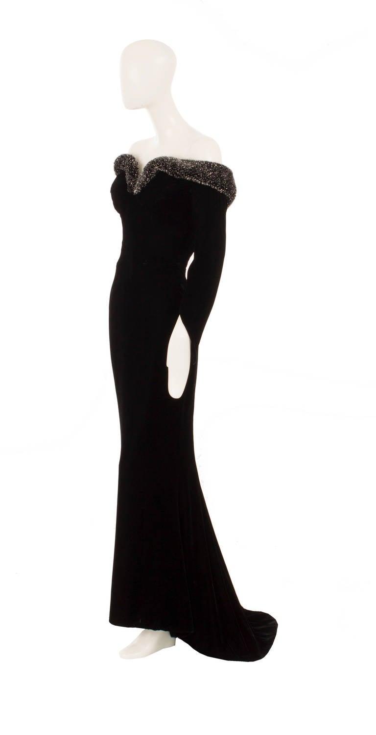 Thierry Mugler Black Velvet Dress, Circa 1987 2