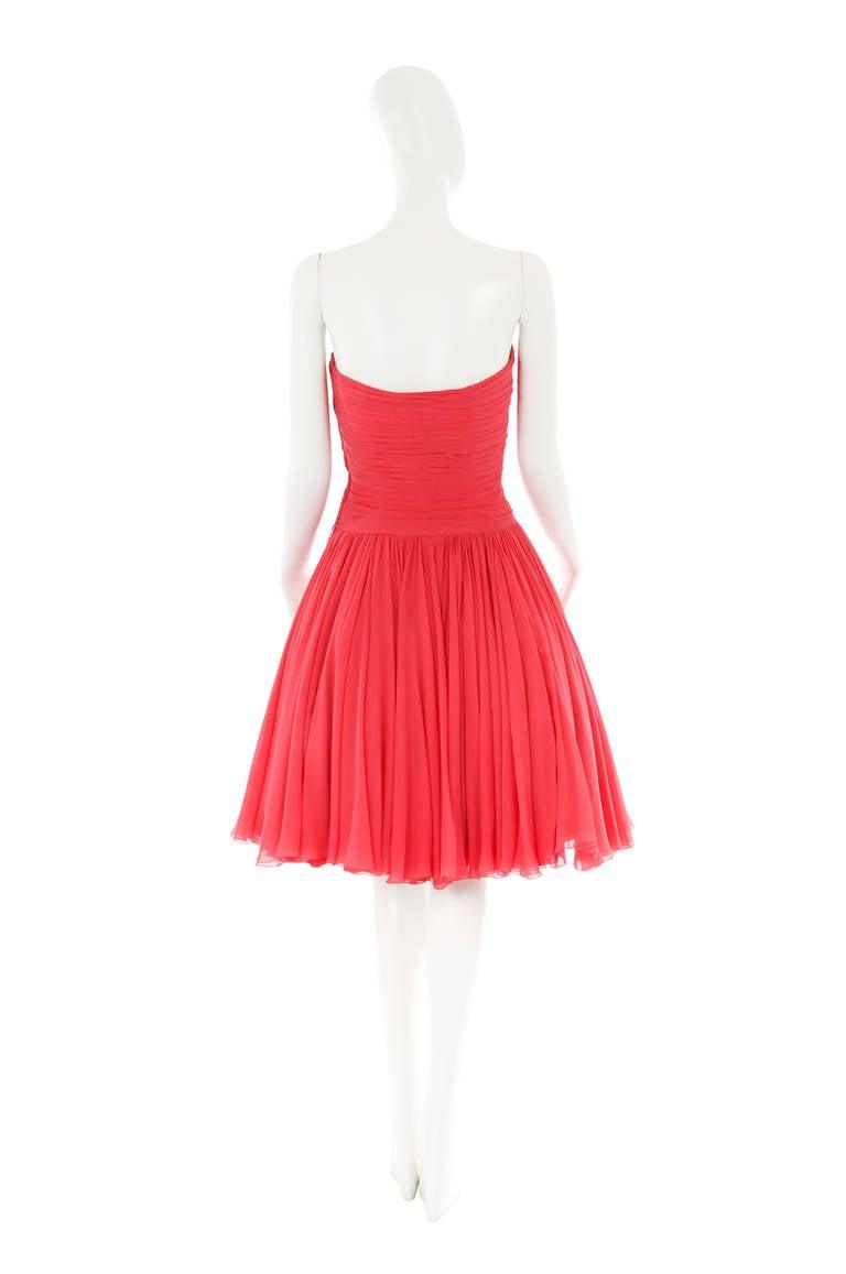 Jean Dessès Haute Couture Pink Chiffon Dress, Circa 1965 3