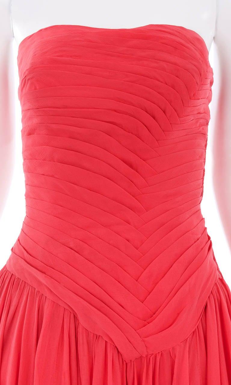 Jean Dessès Haute Couture Pink Chiffon Dress, Circa 1965 4