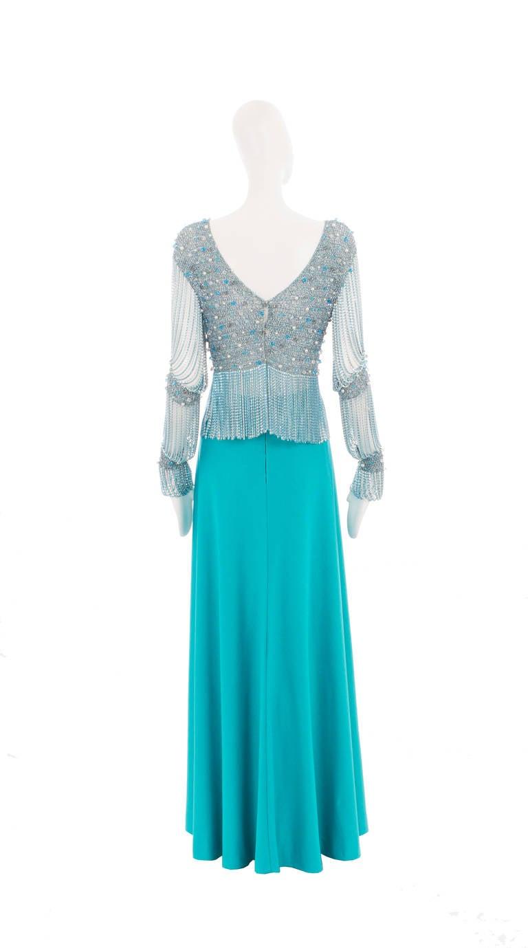 Azzaro Haute Couture Metallic Turquoise Ensemble, Circa 1978 3