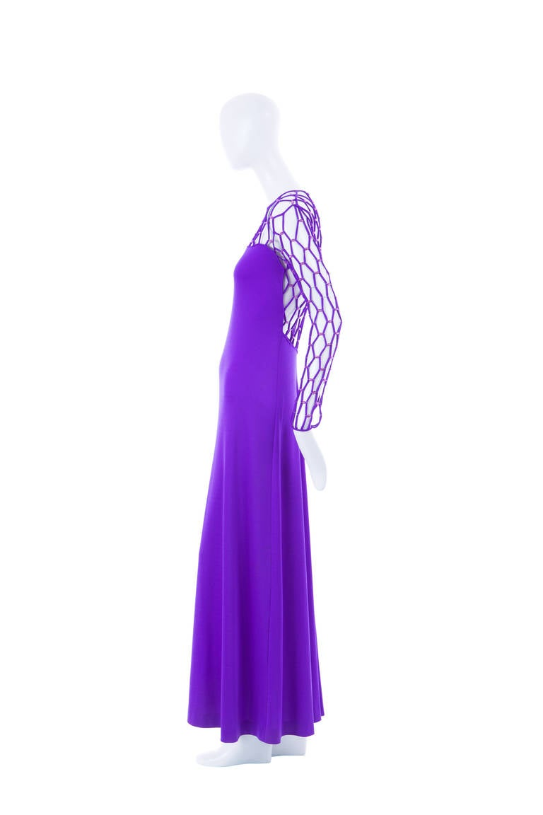 Azzaro Haute Couture Purple Silk Dress and Cape, Circa 1976 4