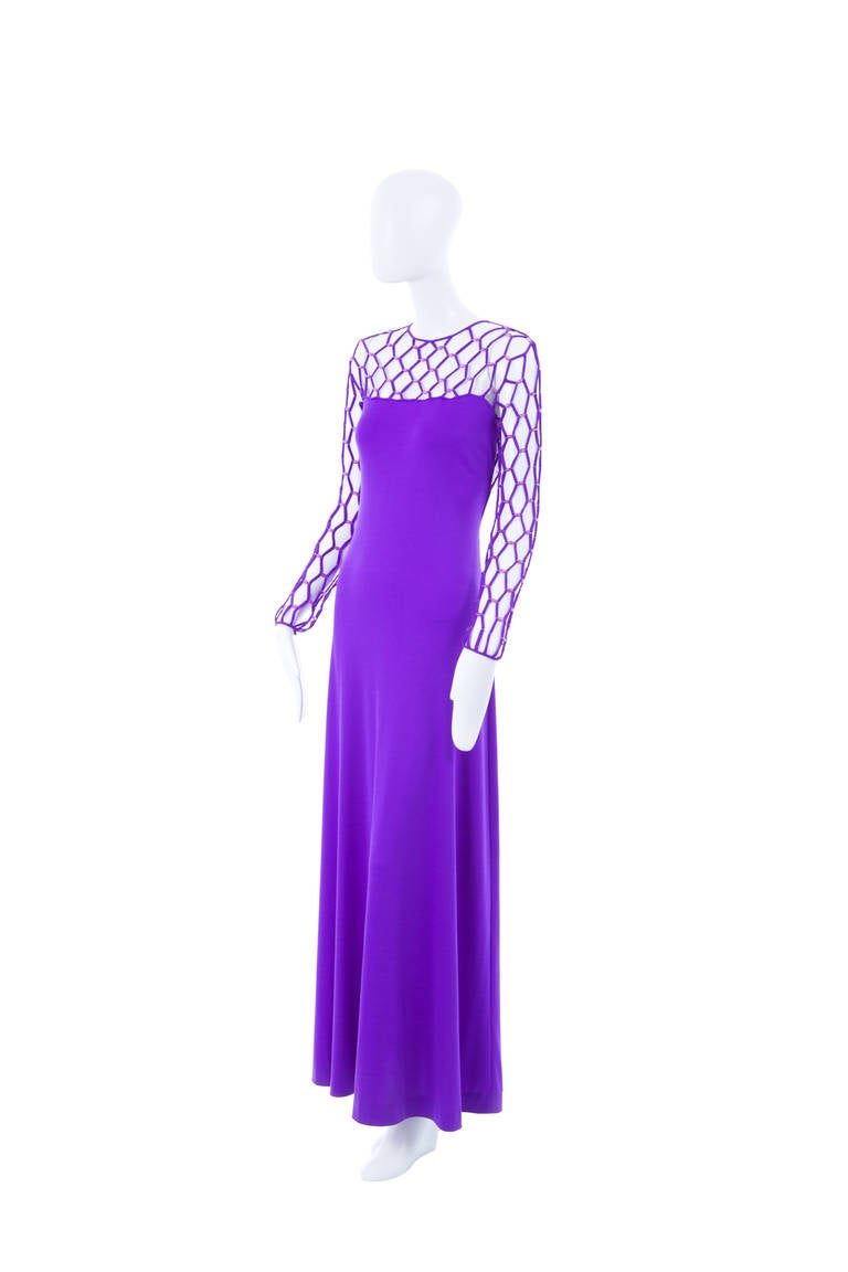 Azzaro Haute Couture Purple Silk Dress and Cape, Circa 1976 3