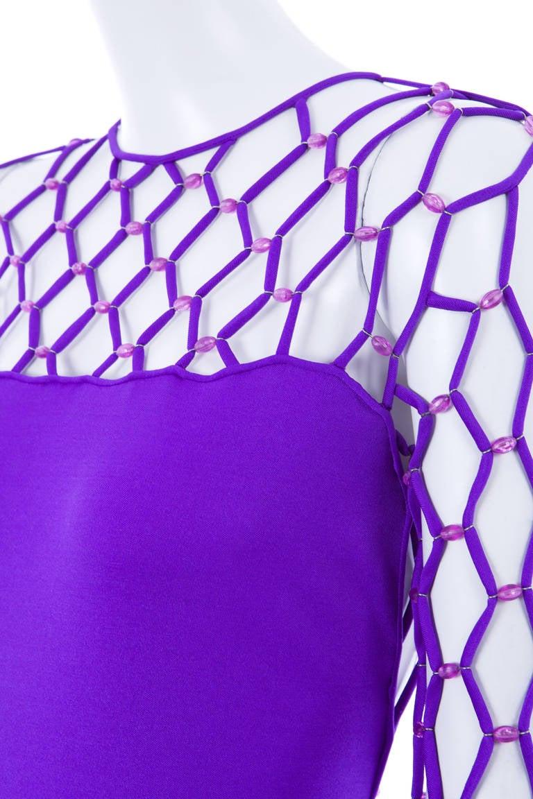 Azzaro Haute Couture Purple Silk Dress and Cape, Circa 1976 9
