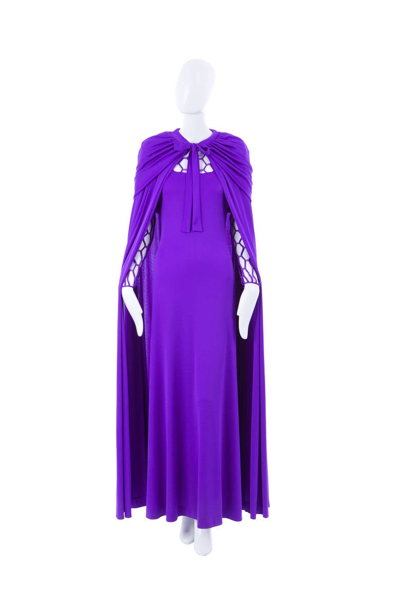 Azzaro Haute Couture Purple Silk Dress and Cape, Circa 1976 6