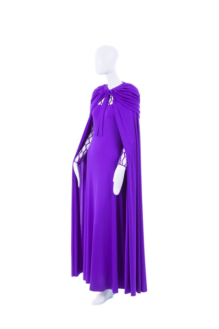 Azzaro Haute Couture Purple Silk Dress and Cape, Circa 1976 7