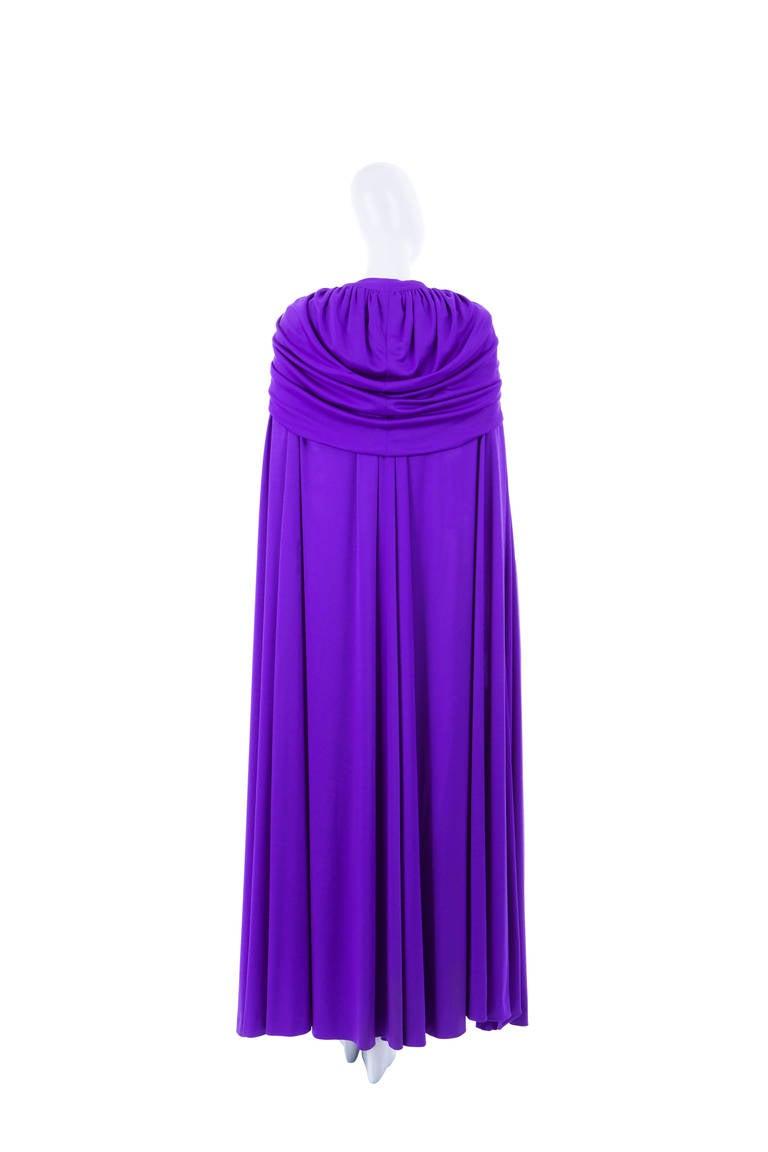 Azzaro Haute Couture Purple Silk Dress and Cape, Circa 1976 8