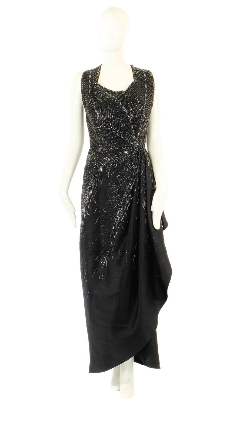 Bruyere haute couture dark grey silk dress circa 1956 for for Haute bruyere