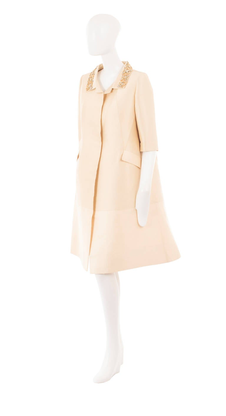 Lanvin Couture Ivory Silk Coat, Circa 1962 2