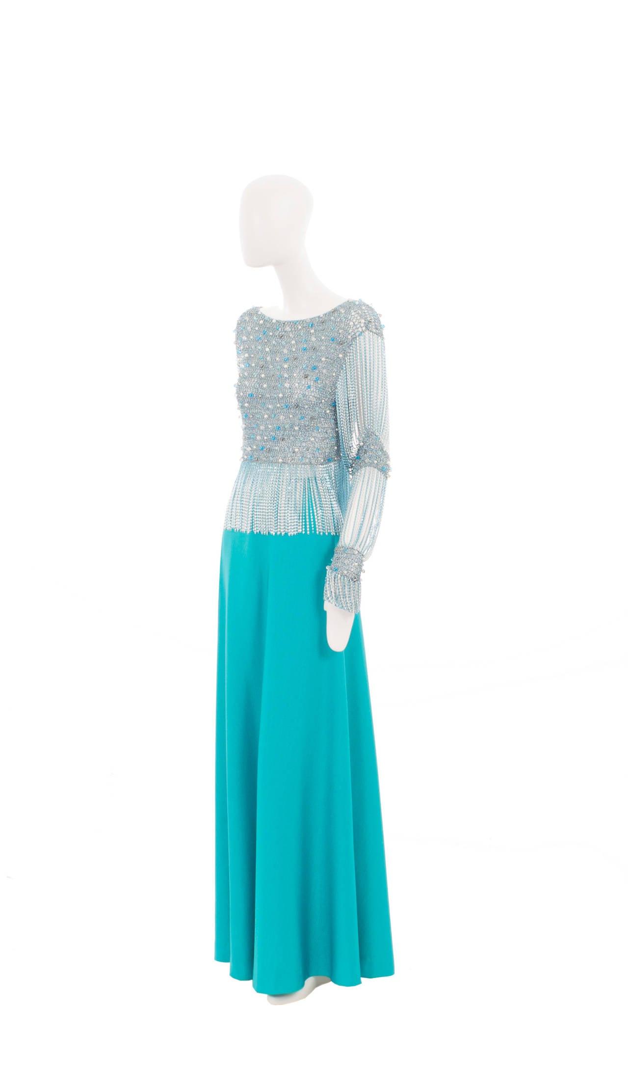 Azzaro Haute Couture Metallic Turquoise Ensemble, Circa 1978 2