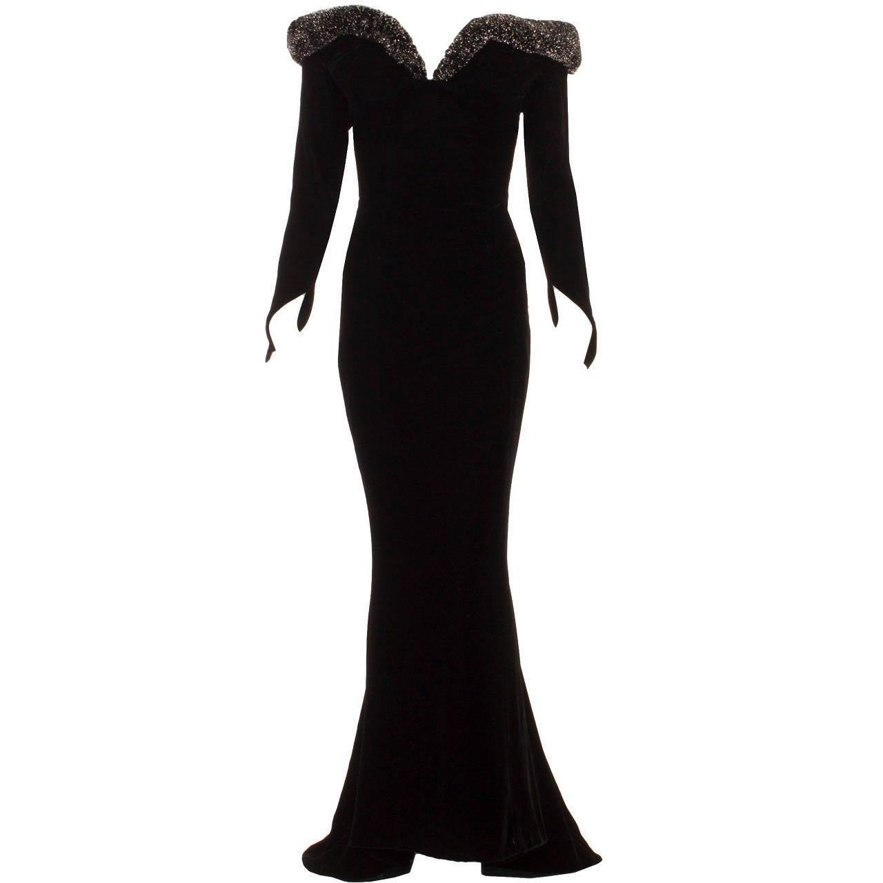 Thierry Mugler Black Velvet Dress, Circa 1987