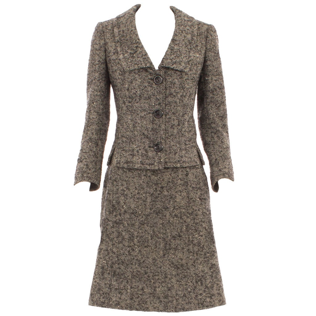 Nina ricci haute couture grey tweed skirt suit circa 1958 for Haute couture suits