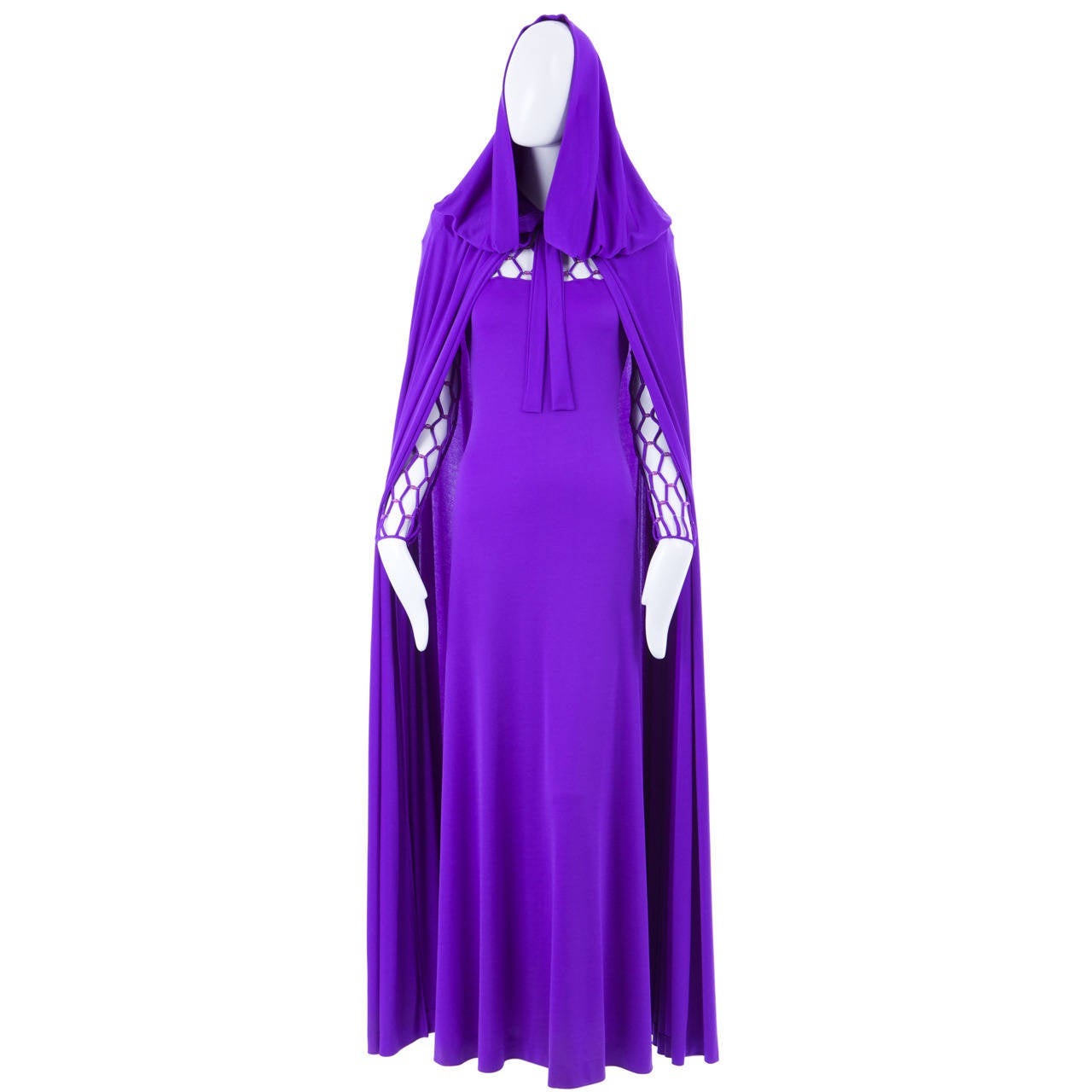 Azzaro Haute Couture Purple Silk Dress and Cape, Circa 1976 2