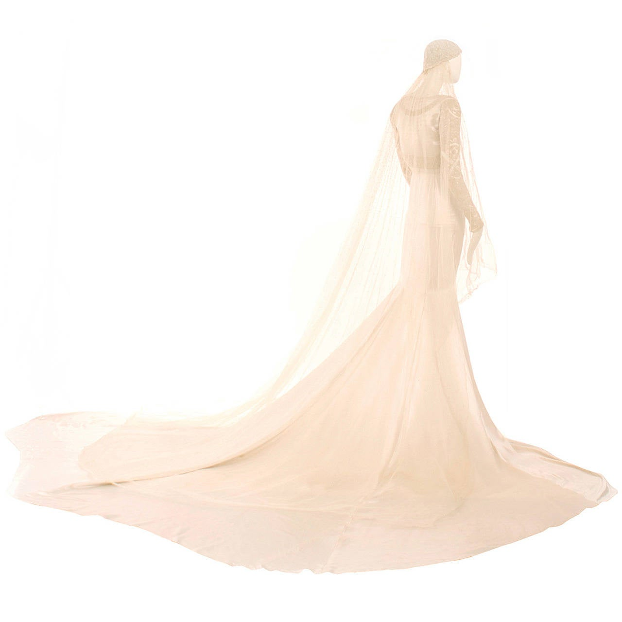 Norman Hartnell Ivory Silk Satin Couture Wedding Gown For Sale at ...
