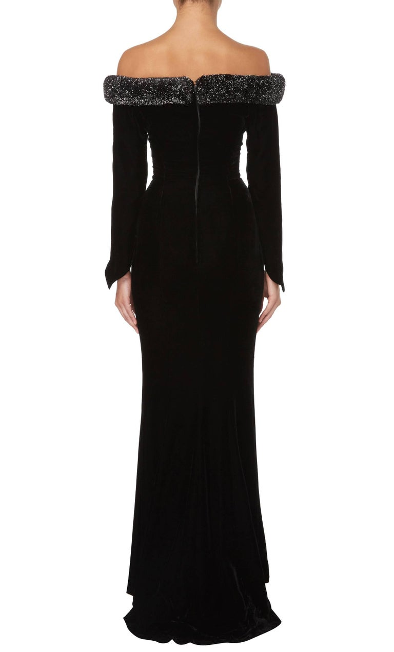Thierry Mugler Black Velvet Dress, Circa 1987 In Excellent Condition For Sale In London, GB