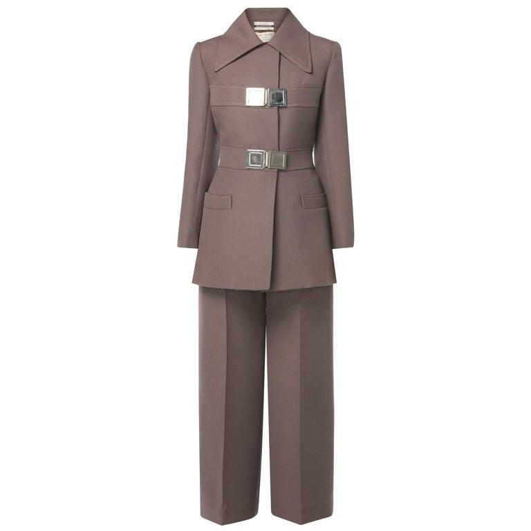 Jean Patou brown trouser suit, circa 1966 For Sale