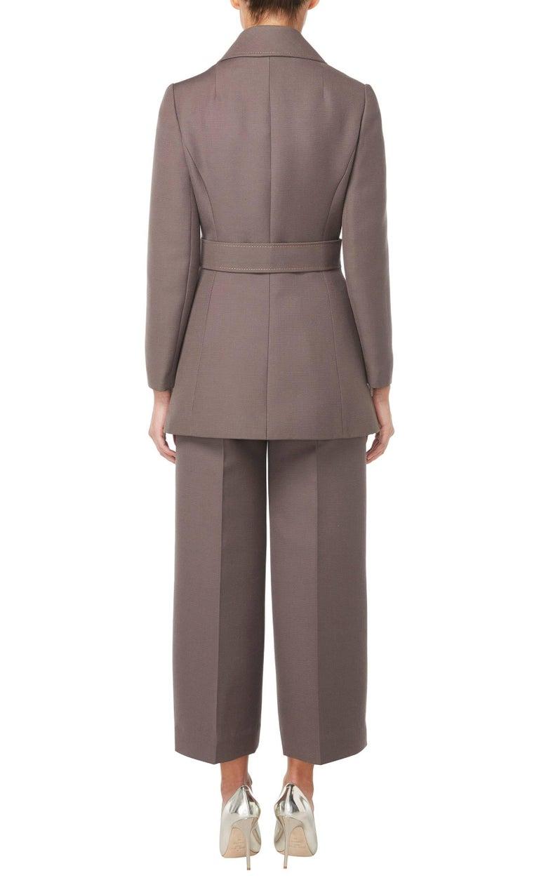 Gray Jean Patou brown trouser suit, circa 1966 For Sale