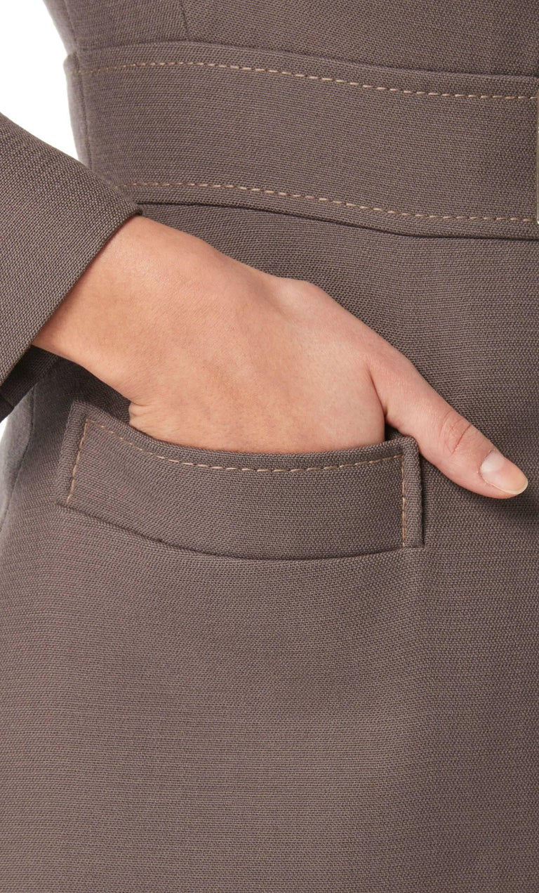 Jean Patou brown trouser suit, circa 1966 In Excellent Condition For Sale In London, GB