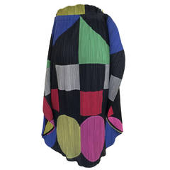 Issey Miyake Pleats Please Sculptural Color Block Skirt / Cape 1990s