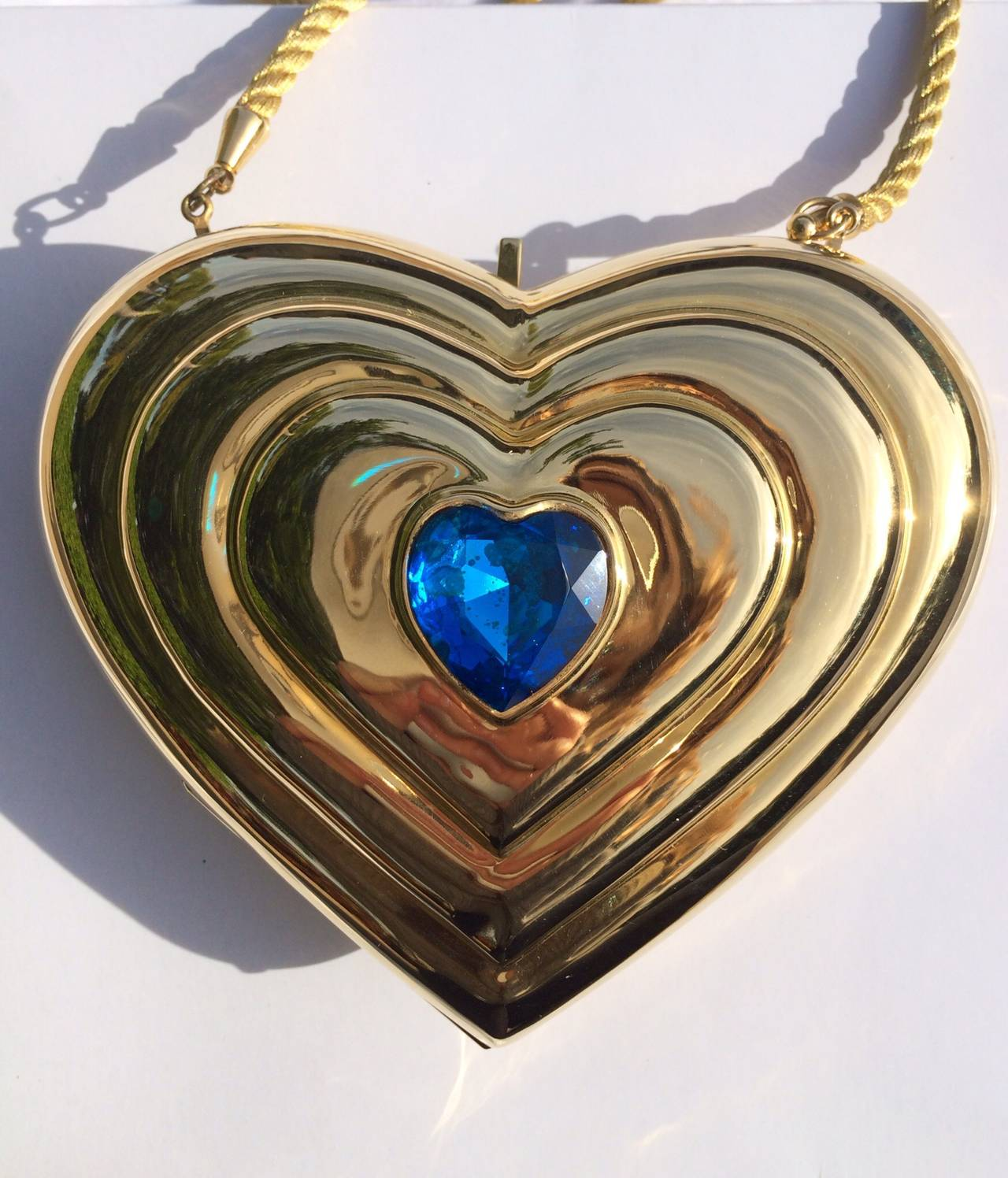 YSL / Yves Saint Laurent Heart Shaped Gold & Sapphire Crystal Minaudiere Bag 5