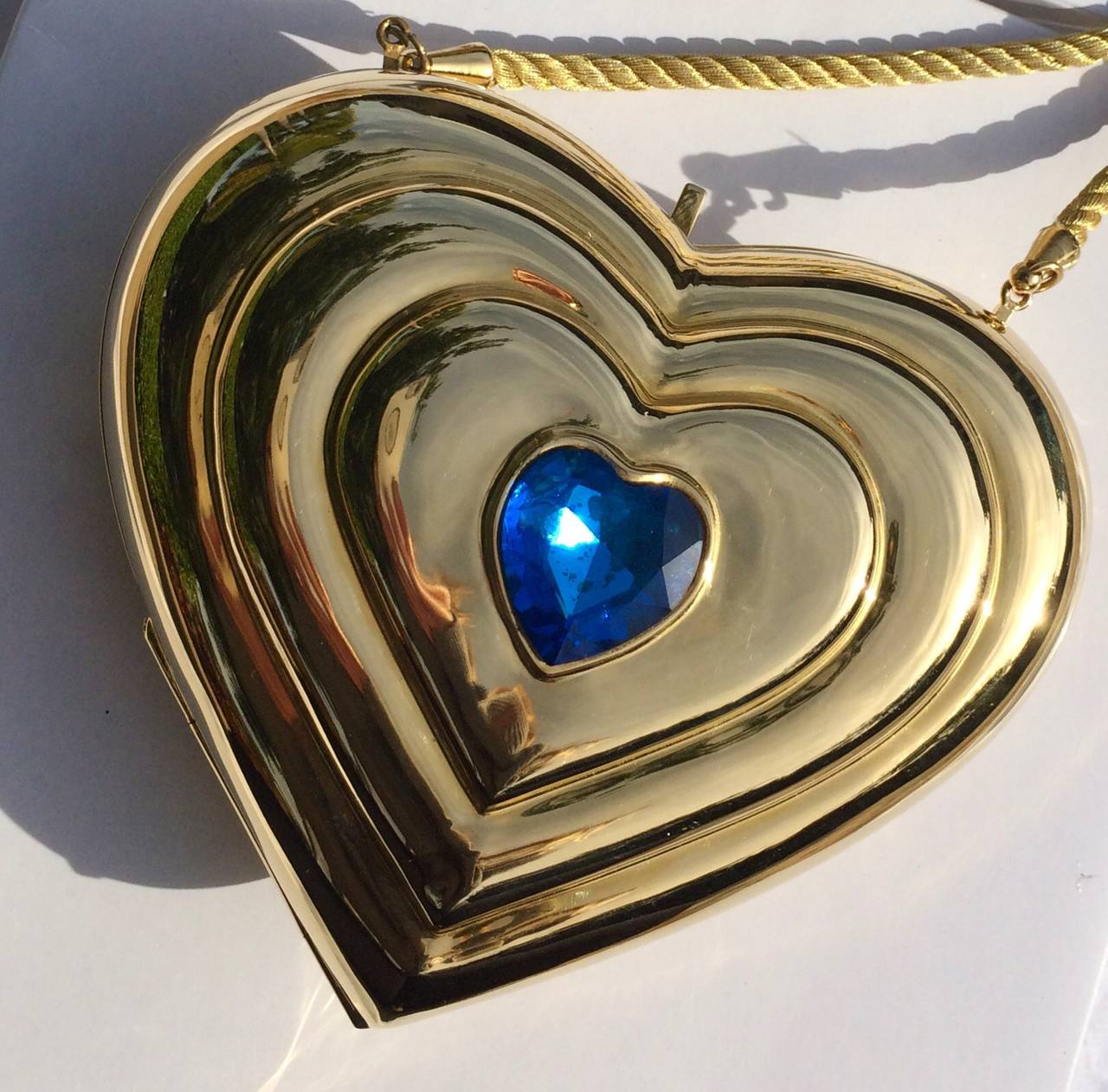 YSL / Yves Saint Laurent Heart Shaped Gold & Sapphire Crystal Minaudiere Bag 4