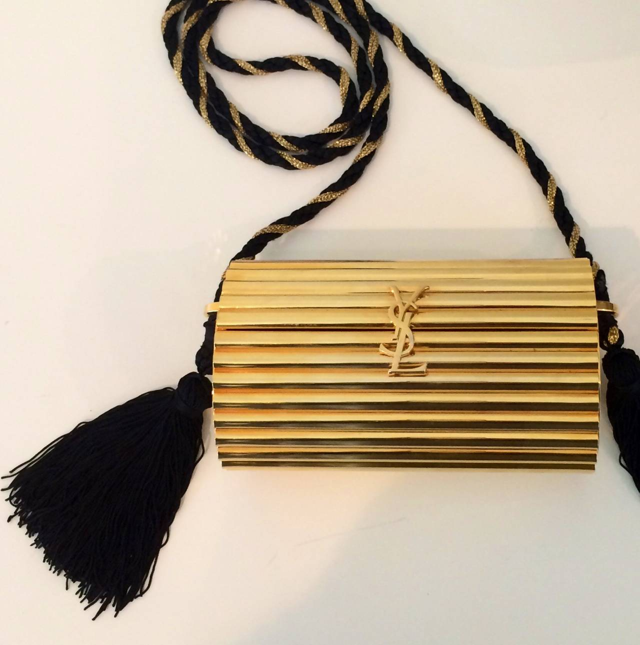 2fcd17b5ddbe YSL Vintage Gold Metal Black Tassel Evening Bag   Clutch 1980s at ...