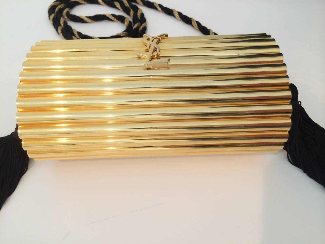 YSL Vintage Gold Metal Black Tassel Evening Bag / Clutch 1980s For ...