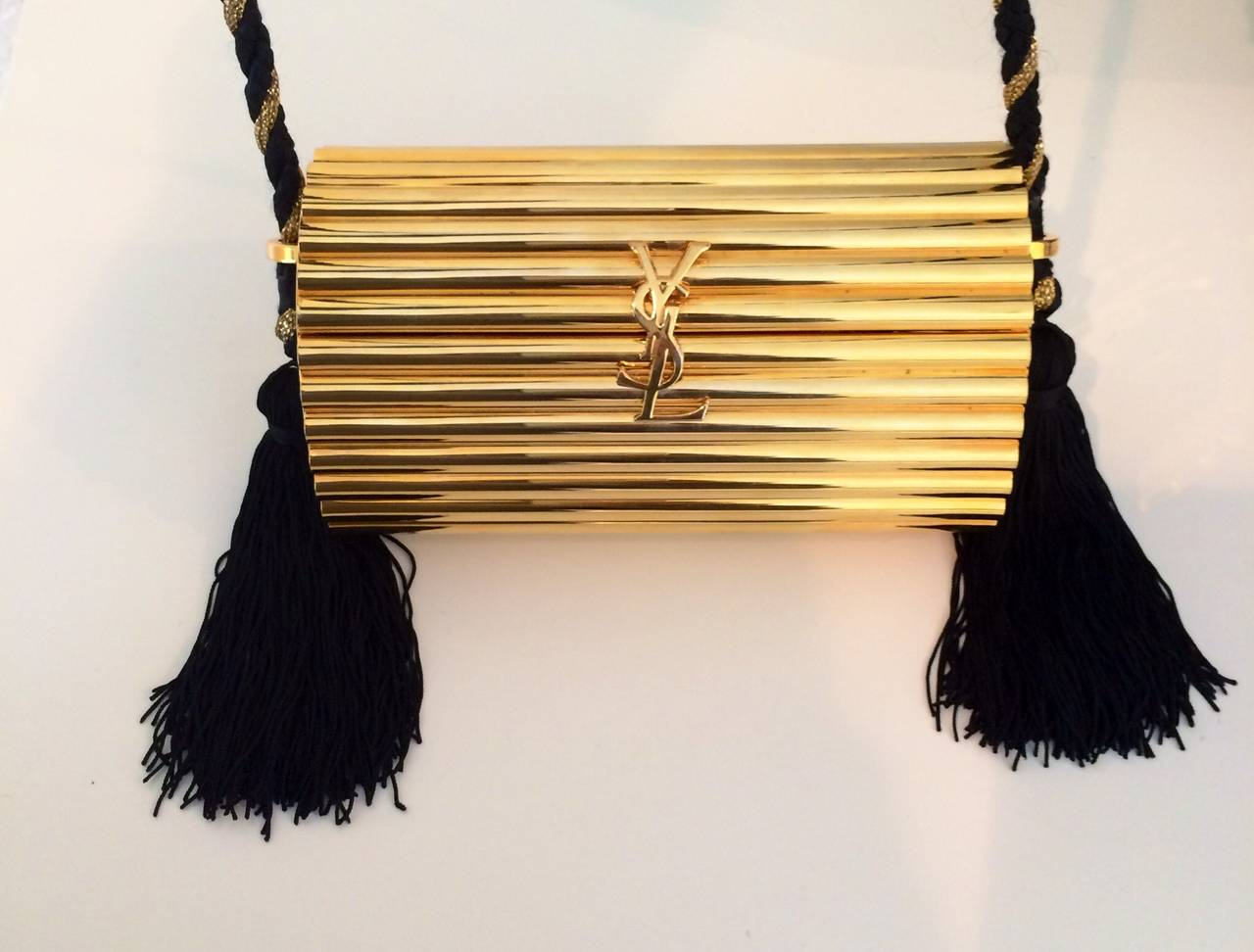 YSL Vintage Gold Metal Black Tassel Evening Bag   Clutch 1980s at ... 0f08426075f3a