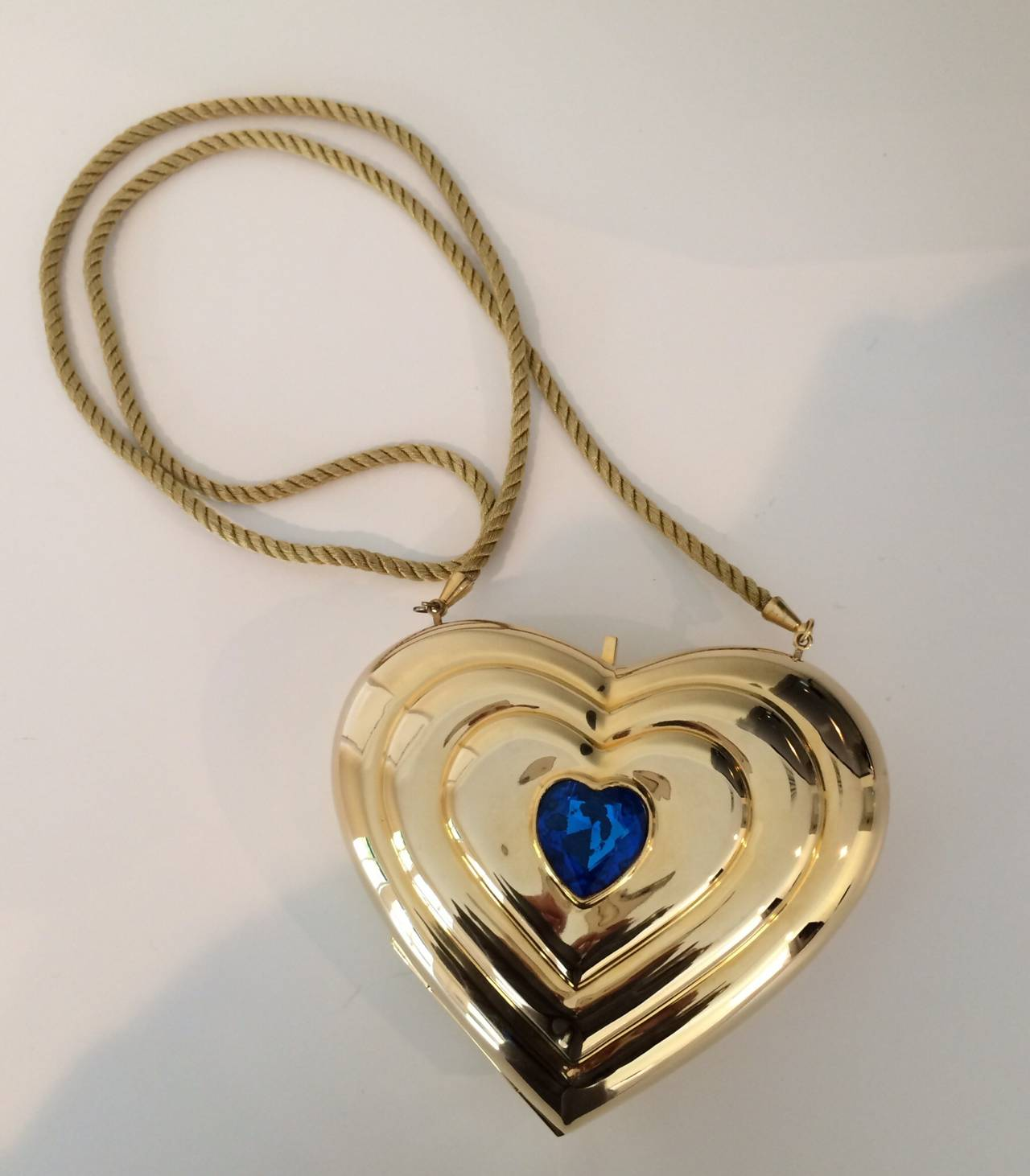 YSL / Yves Saint Laurent Heart Shaped Gold & Sapphire Crystal Minaudiere Bag 3
