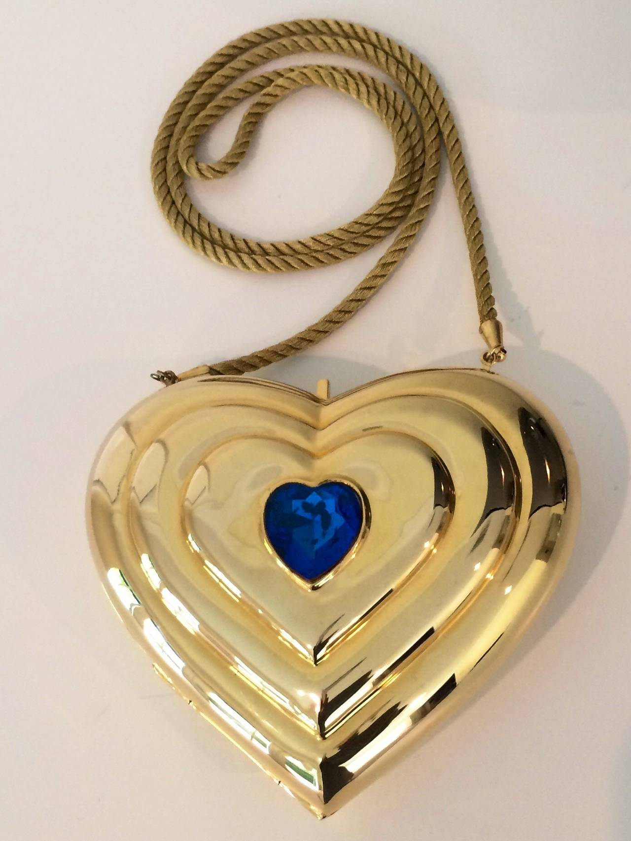 YSL / Yves Saint Laurent Heart Shaped Gold & Sapphire Crystal Minaudiere Bag 2