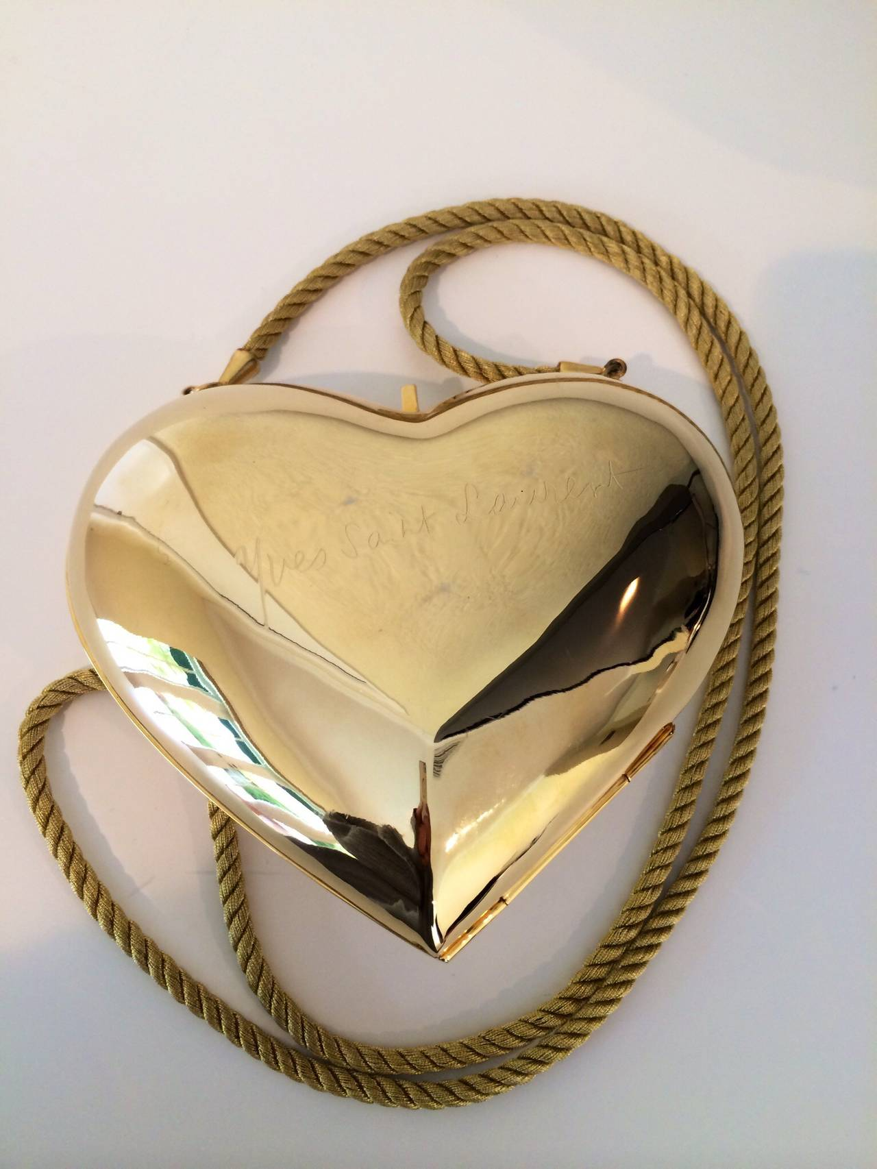 YSL / Yves Saint Laurent Heart Shaped Gold & Sapphire Crystal Minaudiere Bag 9