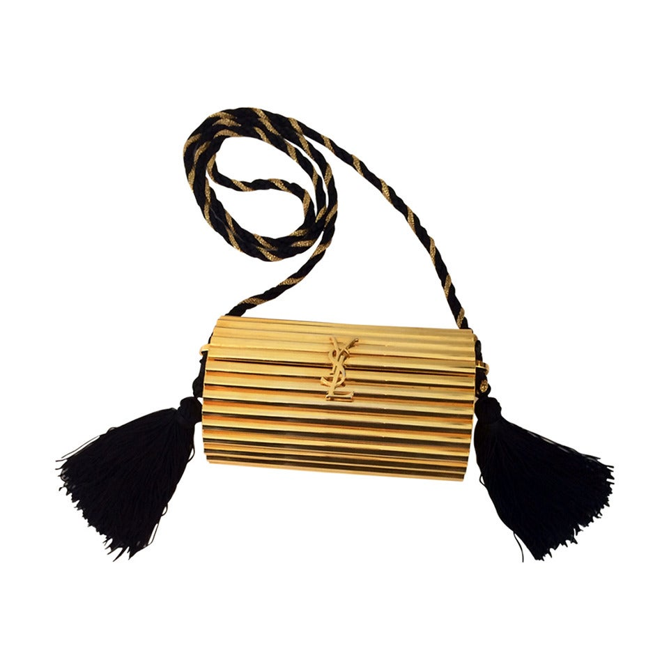 56f60d0d8bc YSL Vintage Gold Metal Black Tassel Evening Bag / Clutch 1980s For ...