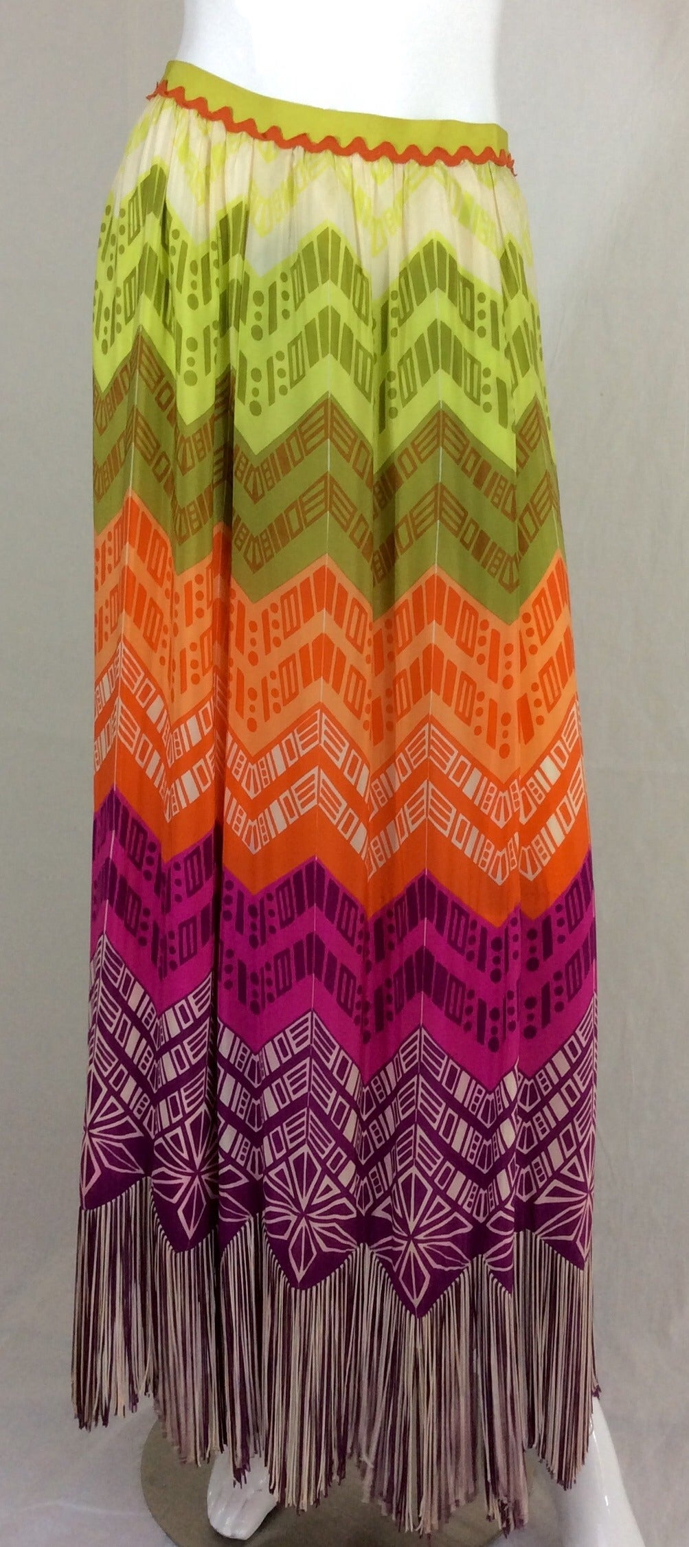 1970s Lanvin Couture Rainbow Fringe Maxi Skirt 2